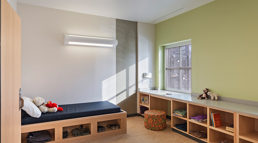 Bronx Mental Health Children's Center patient room featuring MPWUD light fixture